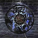 CVG 1 Pieza Jazz Músicos Disco de Vinilo Reloj de Pared Cello Trompeta Cuerno Instrumento de música clásica LED Luz de Noche para Jazz Amante Regalo