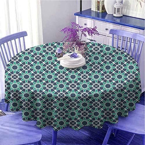 Mantel geométrico multifuncional redondo formas de estrella árabe y otomano diseño ornamental tradicional de secado rápido diámetro 149,8 cm cadete azul, verde y blanco