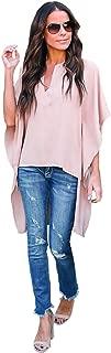 Asvivid Womens V Neck Bell Sleeve Asymmetrical High Low Tunic Tops Summer Chiffon Blouse Flowy Tops
