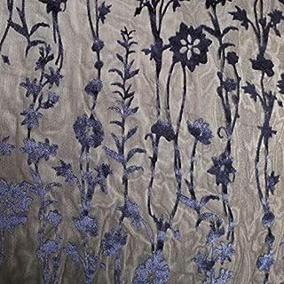 Navy Floral Damask Pattern Burnout Velvet Fabric