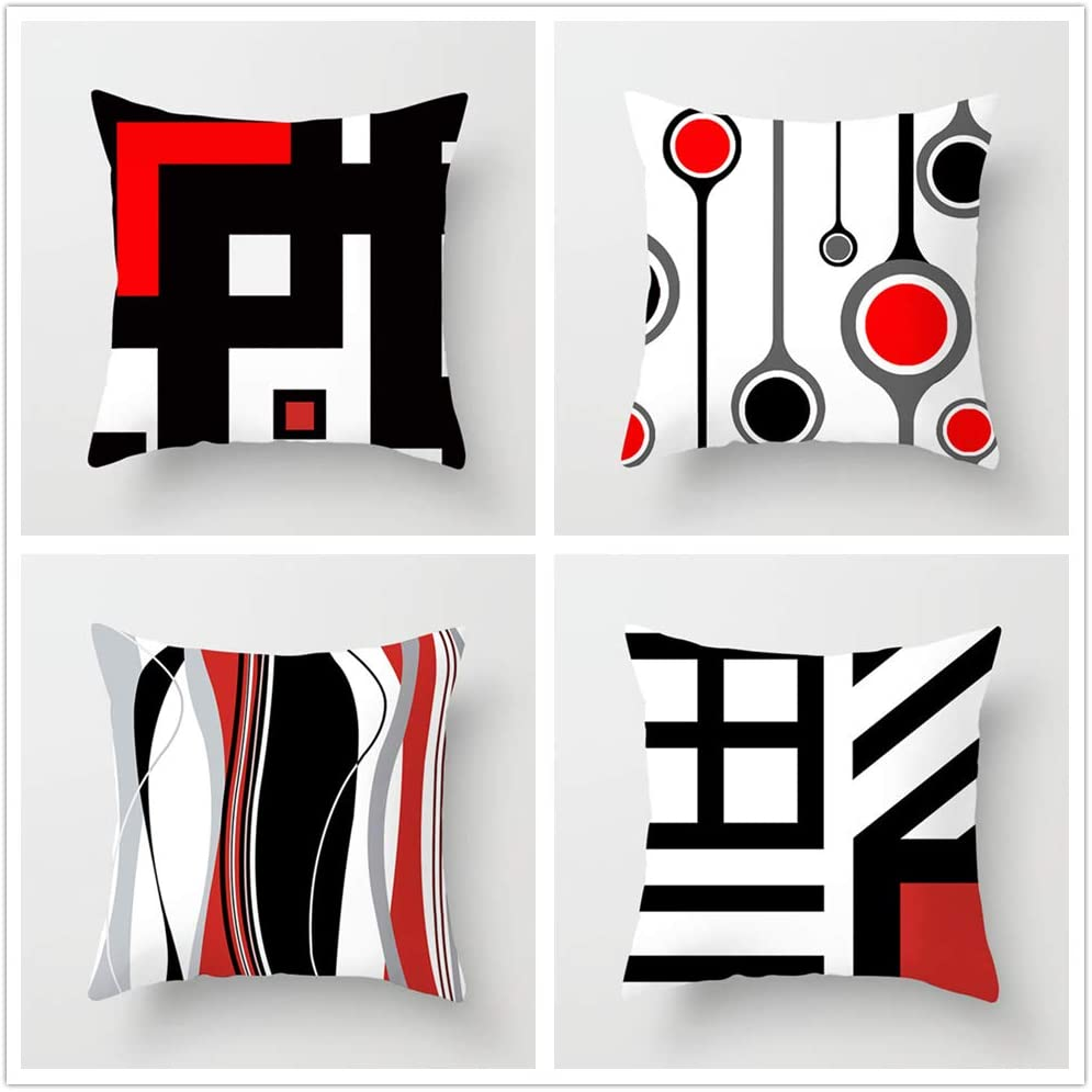 1 year warranty JinglJingle Manufacturer OFFicial shop Pack of 4 Throw Pillow Covers Black Theme Zi Red and