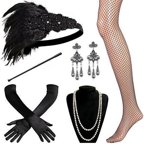 ArtiDeco 1920s Flapper Set Damen Verkleidung Party Gatsby Kostüm Accessoires Set inklusive Stirnband Halskette Handschuhe Zigarettenhalter (Set-17)