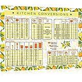 """Kitchen Conversion Chart Magnet - Extra Large 11"""" x 8.5"""" Letter Size - Perfect for Baking, Cooking Measurements, Celsius to Fahrenheit Conversion Chart, Lemon Kitchen Decor (Oranges & Lemons)"""
