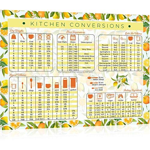 Kitchen Conversion Chart Magnet - Extra Large 11' x 8.5' Letter Size - Perfect for Baking, Cooking Measurements, Celsius to Fahrenheit Conversion Chart, Lemon Kitchen Decor (Oranges & Lemons)