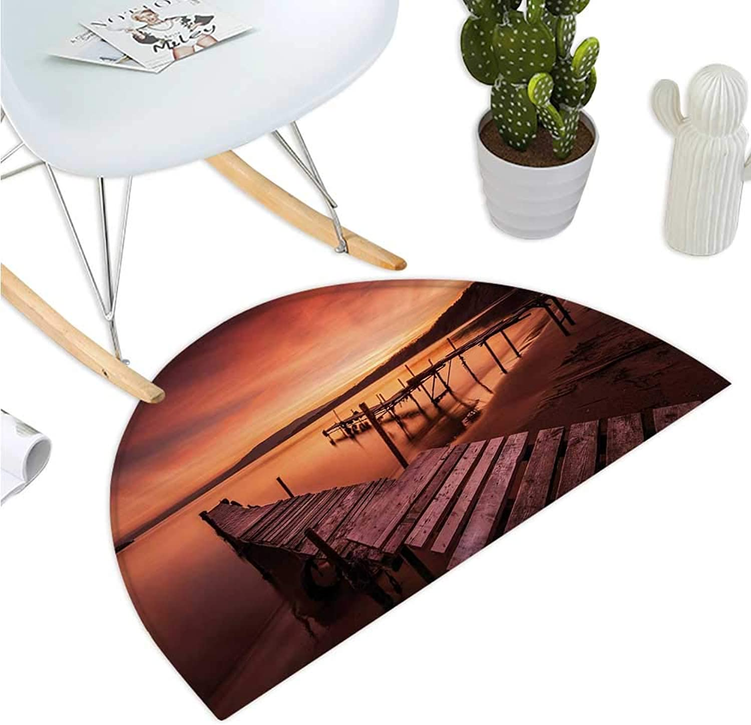 orange Semicircular Cushion Old Rustic Pier on The Beach and Romantic Tranquil Sky Pure Twilight Concept Scenic Bathroom Mat H 35.4  xD 53.1  orange