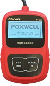 FOXWELL NT200 Diagnostic Scanner Check Engine Light Scan Tool I M Readiness Code Reader for CAN OBD2 EOBD Compliant European Asian Cars