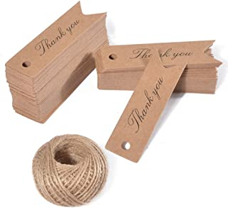 Thank You Gift Tags,100PCS Kraft Paper Tags with 100 Feet Jute Twine,Small Gift Wrap Tags for DIY Crafts,Wedding,Christmas,Thanksgiving (Brown)