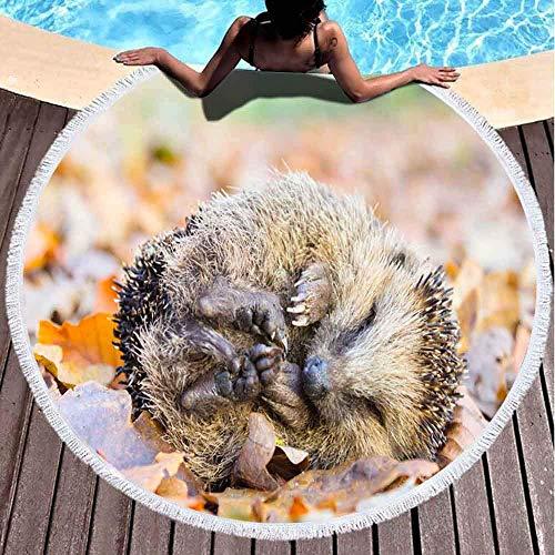 Toalla de playa redonda para niña, toalla de playa grande, rizada, erizo acostado, para dormir, hojas de otoño en 156 x 152 cm, divertida toalla de playa para niños, mujeres y niños