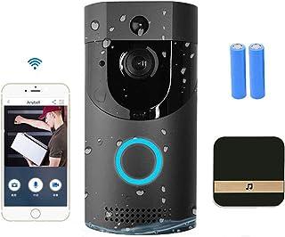QGGESY WiFi Sonnette sans Fil Exterieur Etanche,visiophone/interphone Video sans Fil,PIR Détection Humaine Caméra,Conversa...