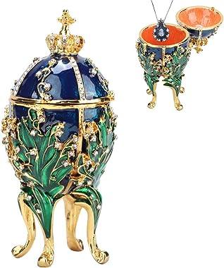 HEEPDD Oeuf Fabergé, Oeuf de Faberge Boite Oeuf Fabergé Peint à La Main émaillé Boîte à Bijoux en Métal pour Collier Bracelet