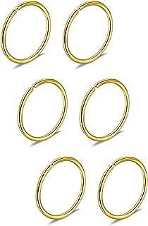 Briana Williams 22G 20G 18G 16G 6/8/10/12mm Stainless Steel Fake Nose Rings Hoop Tragus Cartilage Earrings Hoop Faux Septum Rings Piercing Jewelry