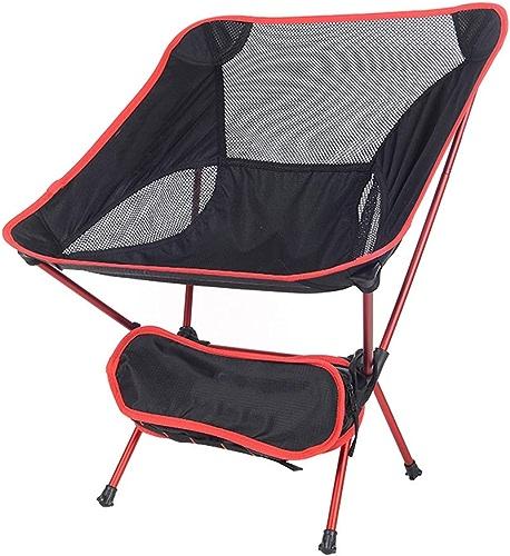 Chaise Pliante d'extérieur, Chaise Lune Ultra légère et Portable, Alliage d'aluminium avec Dossier, Quatre Couleurs en Option LJJOZ (Couleur   rouge)
