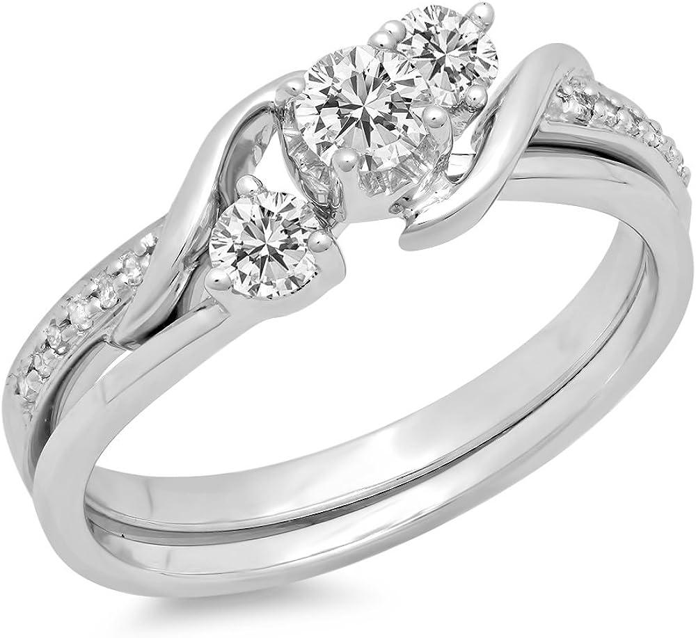 Dazzlingrock Collection 0.50 Carat (ctw) 10K Gold Round Diamond Swirl Bridal 3 Stone Engagement Ring Matching Band Set 1/2 CT