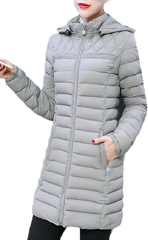 TymhgtCA Womens Solid Hoodies Padded Parka Zipper Winter Down Jacket Coat
