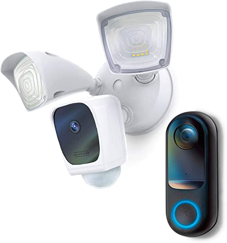 lowest Home Zone Security Hardwired Floodlight Camera and Doorbell 2021 sale Camera Bundle outlet sale