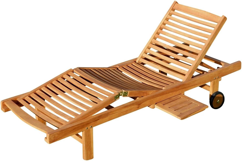 ASS ECHT Teak Sonnenliege Gartenliege Strandliege Holzliege Holz vielfach verstellbar mit Tisch sehr robust Modell  JAV-Cozy von