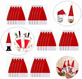 30PCS Mini Christmas Santa Hats for Silverware Holders Pockets Knife Spoon Fork Bag Candy Covers Wine Bottle Dinner Table Christmas Decorations Holiday Presents