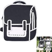 Gerophor Fashion 2D Black and White Bags Novelty Backpack 3D Drawing Cartoon Backpack Comic Bookbag