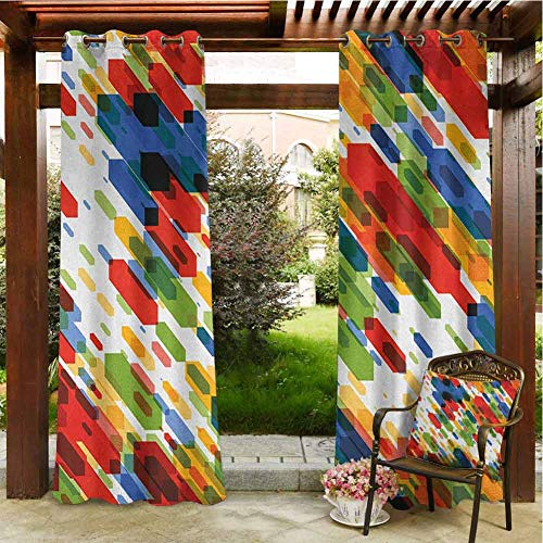 Art Pergola Grommet Curtain Diagonal Geometric Shapes Abstract Colorful Modern Design Vibrant Graphic Figures Print Gazebo Waterproof Curtains 72x84 INCH,Multicolor