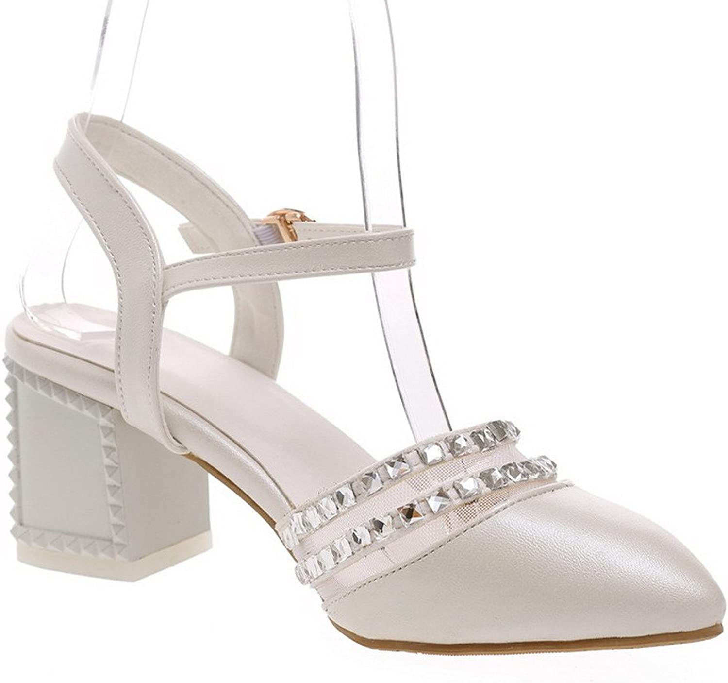 AmoonyFashion Women's Kitten Heels Soft Material Solid Buckle Pointed Toe Sandals