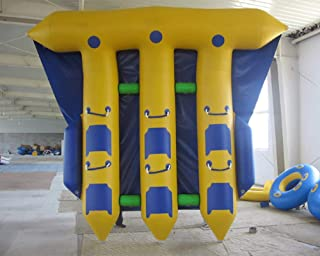 JYNselling 3 Row 6 Person/Seat Inflatable Flying Fish Hunter Banana Boat Raft Towable Tube Float + Blower
