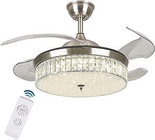 OUKANING Ventilador de techo con iluminación y mando a distancia, 3 colores de luz, lámpara de techo LED de 36 W, alas plegables, 42 pulgadas, lámpara de techo moderna para dormitorio, salón, comedor