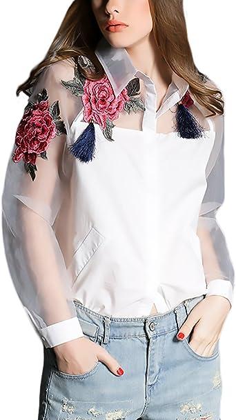 HaiDean Camisas Mujer Elegantes Manga Larga Cuello Solapa Un ...