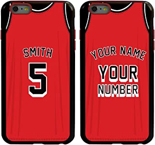 Custom Basketball Jersey Cases for iPhone 6 Plus / 6s Plus by Guard Dog – Personalized – Put Your Name and Number on a Rugged Hybrid Phone Case. Includes Guard Glass Screen Protector. (Black, Red)