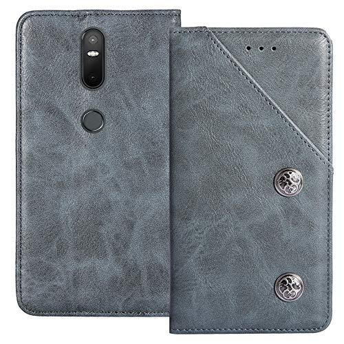 YLYT Azul De Cuero TPU Silicona Funda para Lenovo Phab 2 Plus 6.44 Inch Vintage Estuche Plegable Caso Étui Cáscara Protección con Billetera Cover