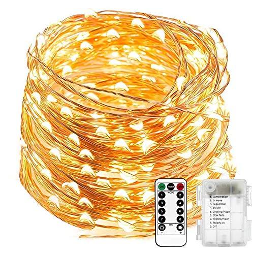 Guirnalda luces pilas 20M/66ft 200 LED, Impermeable Cadena de luces con Batería, Mando a distancia con 8 modos, Decoración para Navidad Interior y Exterior, Boda, Fiesta, Balcón