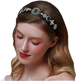 BERYUAN Fashion Baroque Women Hairband Hair Hoop Pearl Emerald Green Crystal Bejewelled Headband Rhinestone Jewelry Velvet...