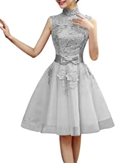 Cocktail Party Dress A-Line High Neck Short Mini Lace Tulle with Appliques