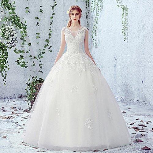 Vestido de novia corpiño encaje floral y corte princesa