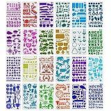 24Piezas Plantillas de Dibujo, Plantillas de Pintura, Plantillas de Dibujo ArtíStico, Plantillas Decorativas de Plástico, Plantilla Plástica Reutilizable para Niños Scrapbook Pintar Proyectos de Arte