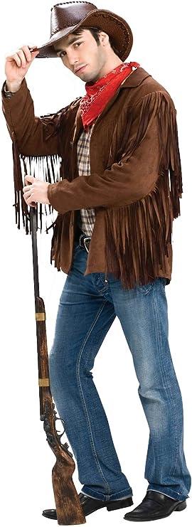 Victorian Men's Costumes: Mad Hatter, Rhet Butler, Willy Wonka Forum Novelties Mens Buffalo Bill Fringed Costume Jacket  AT vintagedancer.com