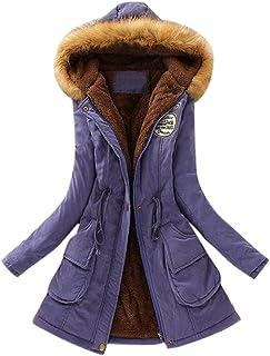 c84971eca5f GOVOW Long Coats for Women Plus Size Cotton Warm Fur Collar Hooded Jacket  Slim Winter Parka