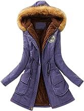 LOOKATOOL-costume Womens Winter Warm Long Coat Faux Fur Collar Hooded Jacket Slim Winter Parka Outwear Coats Hoodie(Medium,Purple)
