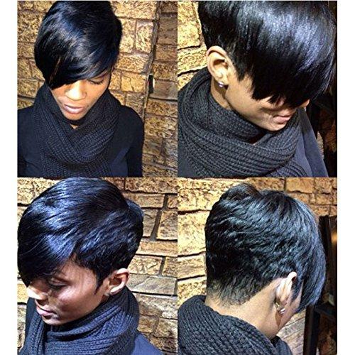 Perruque courte et raide pour femme noire - Coupe noire - Cheveux naturels