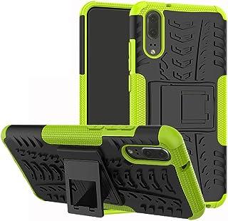 comprar comparacion LiuShan Huawei P20 Funda, Heavy Duty Silicona Híbrida Rugged Armor Soporte Cáscara de Cubierta Protectora de Doble Capa Ca...