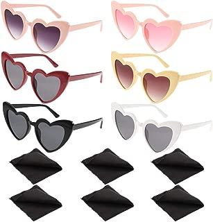 BKpearl 6 Pcs Heart Sunglasses, Vintage Clout Goggle Cat Eye Mod Style Sunglasses Kurt Cobain Glasses with 6 pcs Cleaning Cloth