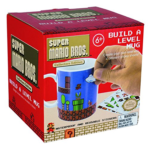 Paladone Super Mario Brothers Build a Level Ceramic Coffee Mug - Includes 4 Sticker Sheets for a Personalized Coffee Cup