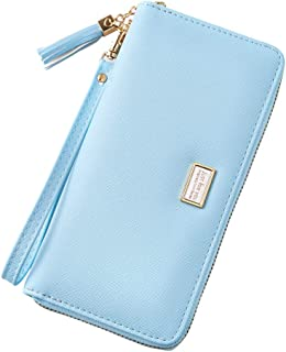 Cyanb Wallet for Women Large Bifold Wristlet Soft Leather with Tassel Card Money Organizers