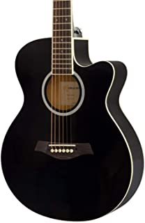 World Rhythm 3/4 Acoustic Guitar - Small Body Cutaway Guitar for Beginners in Black - Now with 6 Months Free Lessons Included