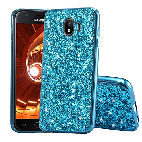 Karomenic Silikon Hülle kompatibel mit Samsung Galaxy J4 Plus 2018 Glänzend Bling Strass Schutzhülle Männer Mädchen Ultra Slim 2 in 1 Weiche TPU Handyhülle Plastik Hard PC Tasche Bumper Case,Blau