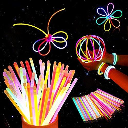 100 Pulseras Luminosas Glow Pack Glow Sticks Glow In The Dark Pulseras Premium (Colores Mezclados) - Accesorios de Neón para Niñas o Niños- pulseras, collares, una diadema, flores, una bola luminosa