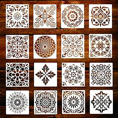 16 plantillas de mandala, plantillas de plástico reutilizables, con corte láser, diseño de mandala y puntos, para manualidades, manualidades, madera, papel, tela, muebles, puerta, pared del p