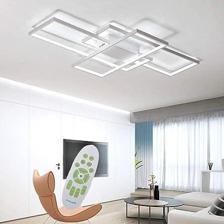 Jsz LED Dimmable Plafonnier Salon Lampe avec Télécommande Moderne Plafond Plafond Creative Métal Acrylique Design Plafond Lampe Éclairage Chambre Décor Lampe,Blanc,90cm