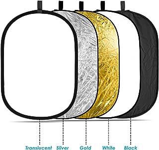 Neewer® 5 in 1 Ovale 120X180cm Faltbare Professionelle Multi ScheibenLicht Reflektor mit Durchlässig, Silber, Schwarz, Gold, Weiß Oberfläche
