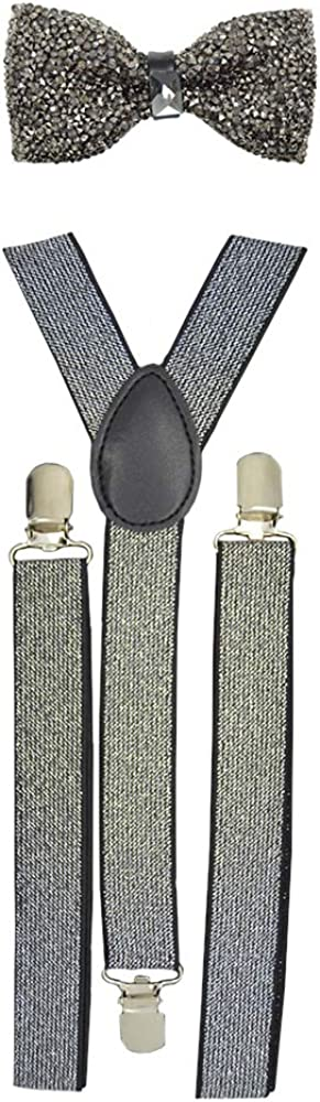 Crystal Stone Bow tie & Glitter Suspender Set Prom, Wedding Party & Special Occasions
