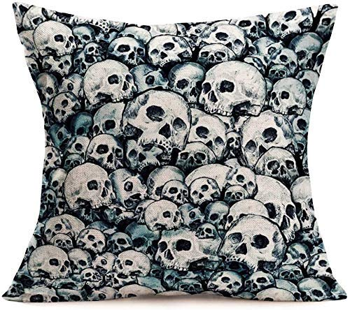 IUBBKI Retro White Skulls Head Throw Pillow Covers 18x18 Inch Halloween Party Decorative Couch Cushion Cover Cotton Line.